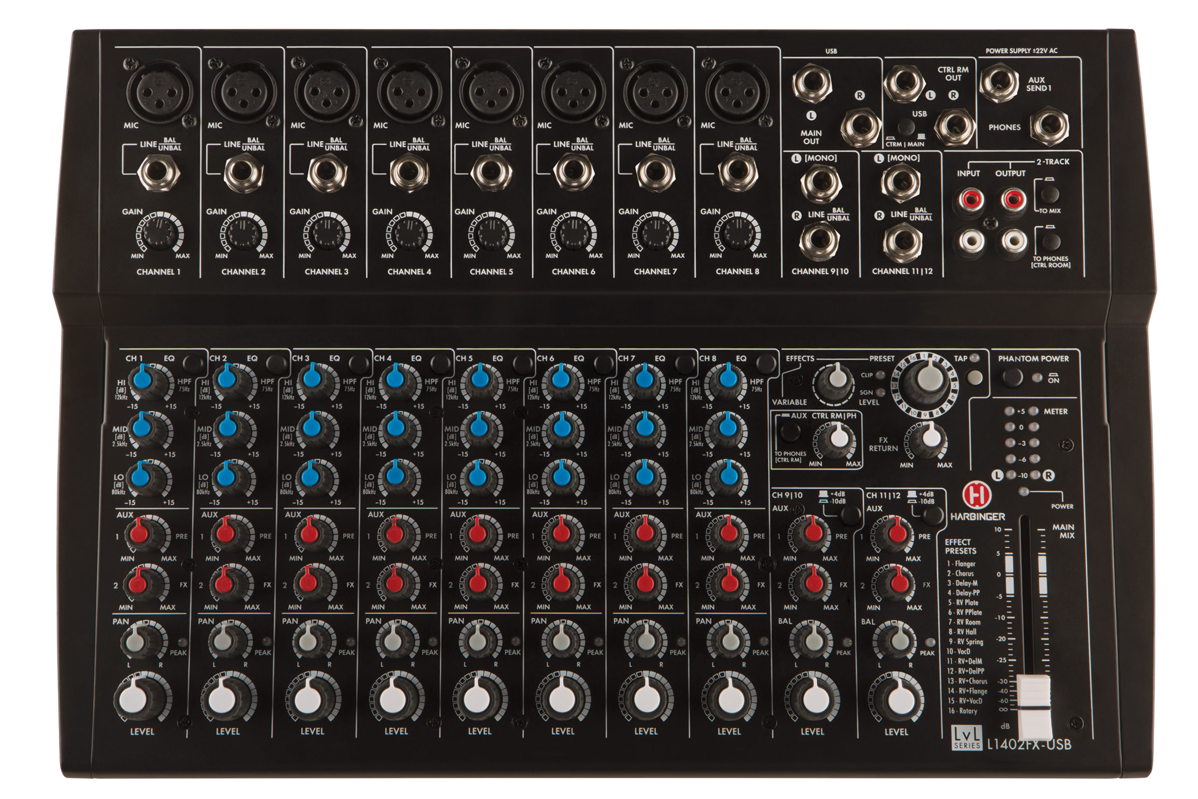Harbinger L1402FX-USB 14-Channel Effects Mixer with USB