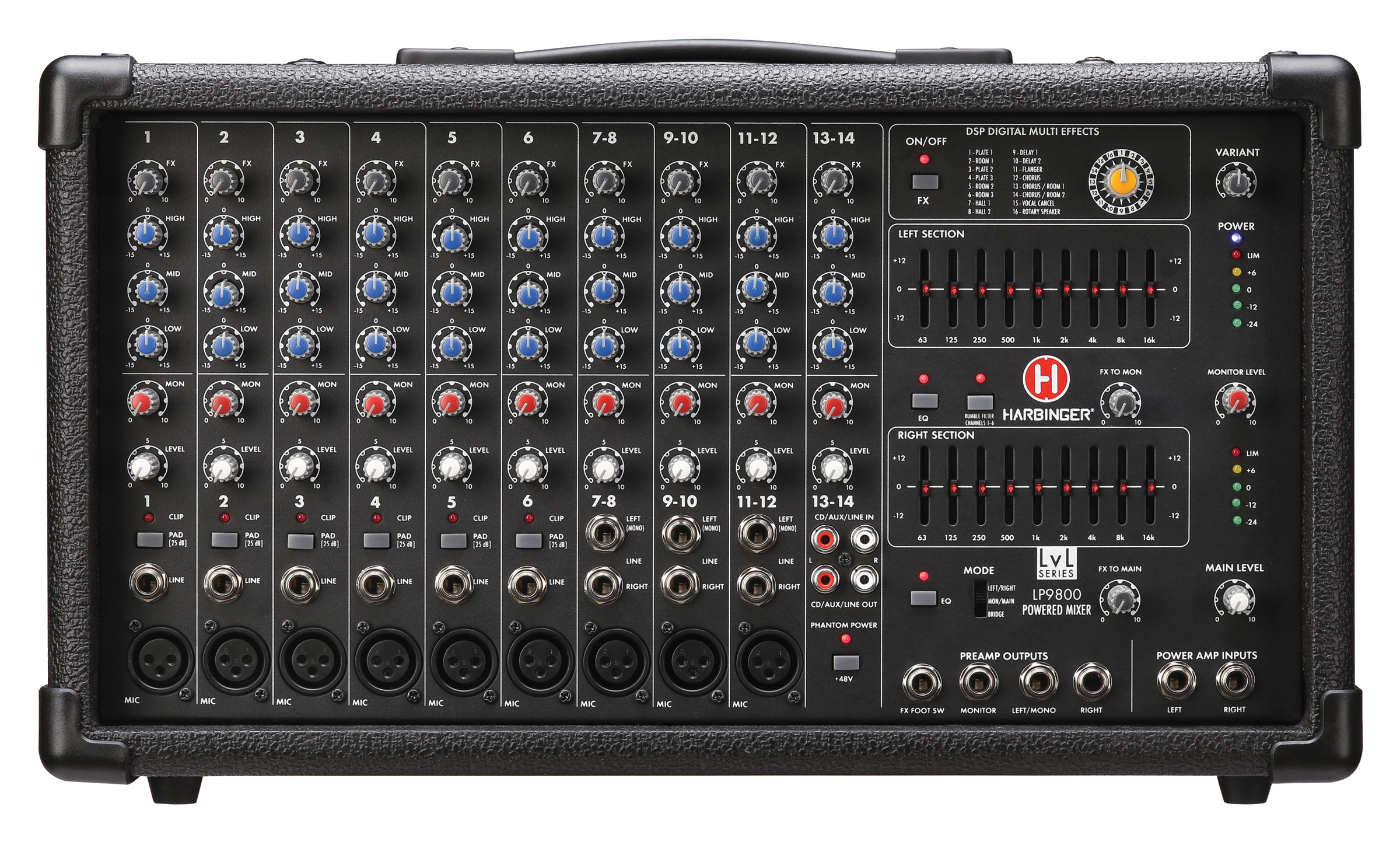 Harbinger LP9800 14-Channel Powered Mixer