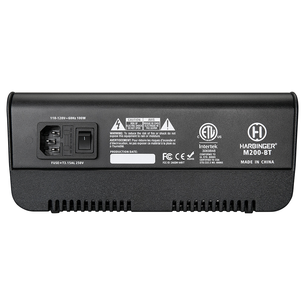 Harbinger M200-BT Portable PA System Mixer Back